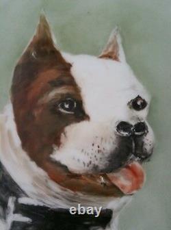 Vintage T&v Limoges Peint À La Main Boston Terrier Dog Porcelaine Portrait Plaque