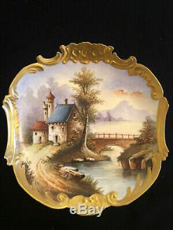 Vintage W. G. & Co Limoges Peinte À La Main Plate Village Scène Cabinet Avec Rim Or