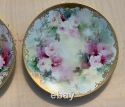 Vtg Antique Limoges France 2 Plaques Main Roses Peintes Floral Fleur D'or Design