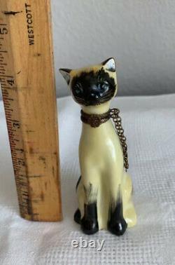 Vtg Limoges Adorable Siamois Cat Boite À Boire Peint A La Main France Peint À La Main