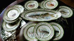 Vtg. Limoges Bassett Plateau De Poissons &11 Plaques Peintes À La Main Art 20x8.5 - 8.5