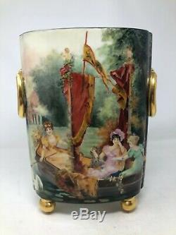 William Guerin Gt Limoges Peinte À La Main Dames Gondola Swan Lake Vase Cachepot