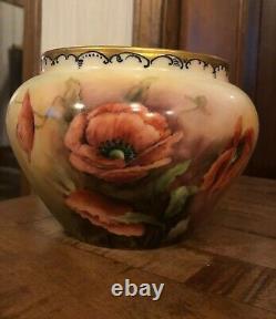 Wow Juste Wow! Wg & Co Limoges Peint À La Main, Signé Et Daté Jardiniere Vase